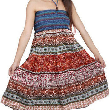 2016 Ladies Summer Beach Boho Maxi Skirts Long Womens Floral Pleated Elastic Waist Skirt Beach Style KH655210