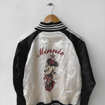 CRAZY SALE 25% MINNIE Mouse Vintage Walt Disney Punk 90's Mickey Mouse Sukajan Satin Jacket Souvenir White Cream Varsity Jacket