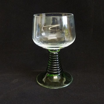 Vintage Goblet, Roemer Style Glass, Emerald Glass, Green, Ribbed Stem, Stemware, Glassware