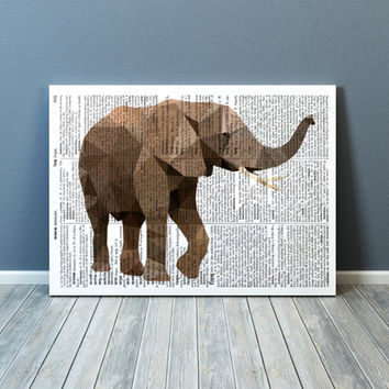 Colorful decor Elephant art Animal poster Nursery print TOA64-1