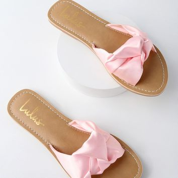 Makenzie Blush Satin Slide Sandals