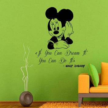 Disney Mouse Wall Decals If You Can Dream It You Can Do It Quotes Children Vinyl Sticker Words Baby Kids Girl Boy Nursery Room Decor KG660