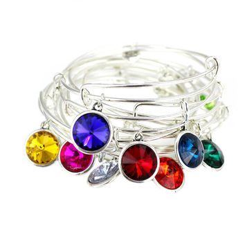 Silver Plated Birthstone Charm Expandable Wire Bracelet Bangle For Women Love Charms Best Friend Birthday Gifts Pulseiras