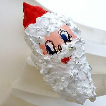 Santa Claus Hand Painted Seashell Brooch Christmas Holiday Pin