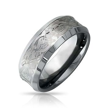 Celtic Knot Dragon Inlay Couples Wedding Band TungstenRing 8mm