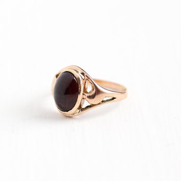 Antique 10k Rose Gold Garnet Cabochon Ring - Late 1800s Size 5 English Red Maroon Gemstone Lion Hallmark Fine Open Metal Art Nouveau Jewelry