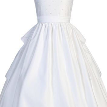 Tier Back Ruffles & Pearl Beads Matte Satin First Holy Communion Dress (Girls Size 5 to 14)