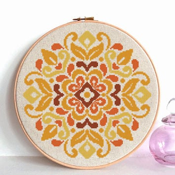 modern cross stitch pattern, flowers ornament, traditional flower ornament, geometric pattern, folk art, instant download, PDF
