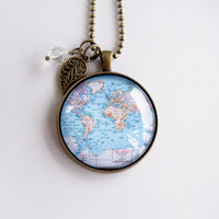 Large World Map Necklace - Globe Pendant Necklace - Map Jewelry - Adoption Jewelry - Travel Necklace - Personalized - Map Of The World