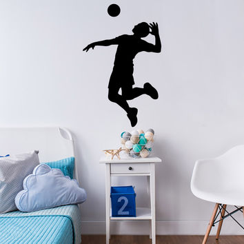 Volleyball Wall Sticker Decal - Male Player Hitter Silhouette Decoration - #5