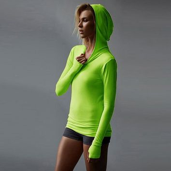 Women Sport Elastic Running Shirts Long Sleeve Hooded Hoody Sportswear T-Shirts Ladies Running T-Shirts Quick-Dry Fitness Tops