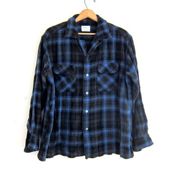 Vintage wool boyfriend flannel / blue and black grunge shirt / tomboy shirt / plaid flannel