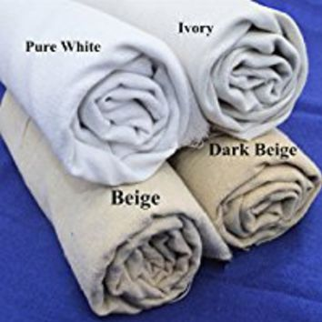 "iNee Natural Linen Fabric for Needle Embroidery, Embroidery Fabric 20""x 62"",(Beige)"