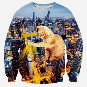 Alisister new fashion autumn galaxy cat sweatshirt for men/women's 3d hoodies print the city tie-dye harajuku sweatshirts