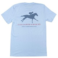 Derby Horse Tee Shirt in Carolina Blue by Collared Greens