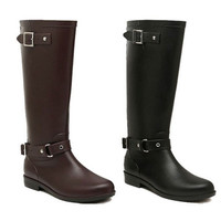 Women's Low Heels Rain Boots High Style Rainboots Women Buckle Motorcycle Boots Riding Equestrain Shoes Plus Size 36-41