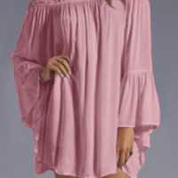 Pink Slash Collar Pleated Long Sleeve Dress