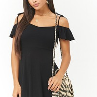Ribbed Open-Shoulder Skater Dress