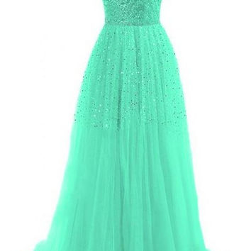 Green Strapless Sequined Maxi Dress