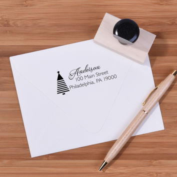 Christmas Tree Return Address Stamp - Custom Ink Stamp