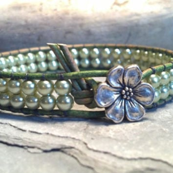 Pearl Bracelet, Leather Wrap Bracelet, Christmas in July, Sign up for newsletter and receive 15% off