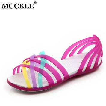 MCCKLE Women Jelly Shoes Rianbow Summer Sandals Female Flat Shoe Casual Ladies Slip On Woman Candy Color  Peep Toe Beach Shoes