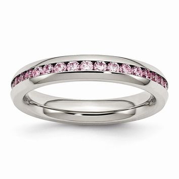 Stainless Steel October Pink CZ Ring