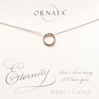 """Eternity"" Personalized Sterling Silver Circle Necklace 