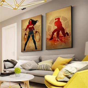 Watercolor Superhero The Avenger Captain America Movie Poster Print Hulk Wall Art Picture cuadro posters and prints anime poste