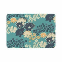 "Zara Martina Mansen ""Teal Color Bouquet"" Green Blue Memory Foam Bath Mat"