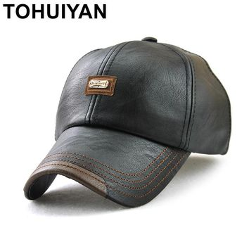 Trendy Winter Jacket TOHUIYAN Retro Leather Cap For Men Fall Winter Adjustable Baseball Cap Gentleman Casual Snapback Hat Bone Masculino Gorra Hombre AT_92_12