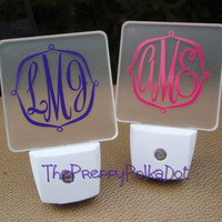 Monogram Personalized LED Night Light by ThePreppyPolkaDot on Etsy
