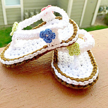 Baby Flip Flop Sandals Crochet Shoes Flip Flips Crochet Sandals Baby girl items Baby Girl Crochet Summer Fashion 0-3 months