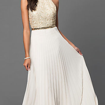 Gold Floor Length Pleated Skirt and Lace Top Dress
