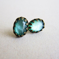 Turquoise Earrings Stud - LOTR Jewelry Lord of the Rings Inspired Earrings - Ancient Atlantis