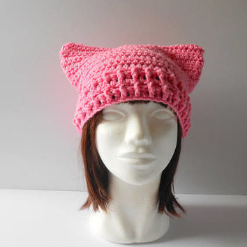 Pink Cat Hat for Women's  March 2018 Pink Pussyhat Pink Pussycat Hat Feminist Beanie  Day Pink Cat Ears hat  Pussyhat Project Ready to ship