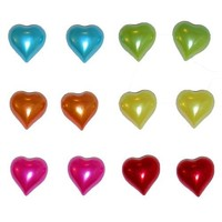 """Set Of 12 (6 Pairs) 3/8"""" Gorgeous Imitation Pearlized Heart Earring Studs, in Assorted"""