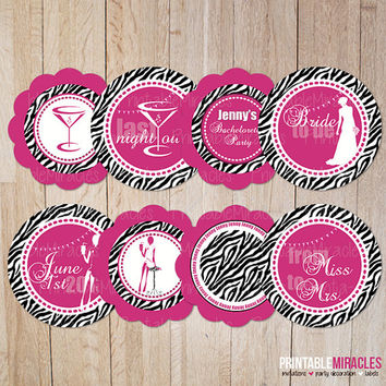 Bachelorette cupcake toppers Zebra hot pink printable bachelorette party decoration Personalized DIY bridal shower favor tags