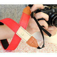 "Alice leather camera strap 1.2"" in two tone Red and Beige"