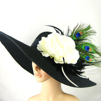 Kentucky Derby Hat with Peacock Feathers ,Derby Hat ,Dress Hat ,Wide brim black Hat Women's Dress Hat Wedding Tea Party Ascot  Horse Race