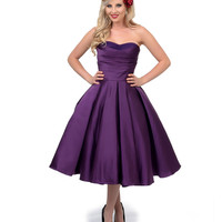 Unique Vintage Eggplant Satin & Tulle Charade Swing Dress