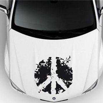 Peace Sign Hippie Car Hood Vinyl Sticker Decal a041