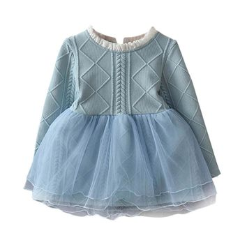 winter Girl Dress Cotton Knitting Tulle Baby Girl TuTu Dress Long Sleeve Knit Sweater baby girl dress 3-7Years