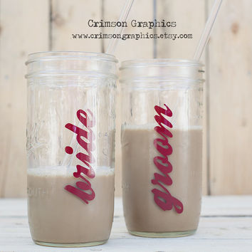 Bride + Groom Mason To Go Glassware || 24 oz. Mason Jar Set of 2