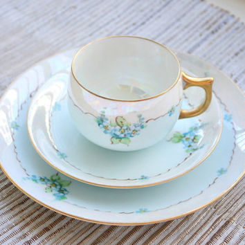 Signed Thomas Jorgensen Lusterware Bavaria Lustraware Teacup, Saucer And Desert Plate Trio/Blue China/Tea Party/Bridal Gift/Pearl Finish