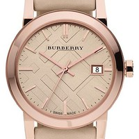 Women's Burberry Check Stamped Round Dial Watch, 34mm