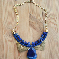 JeansLover Statement Navy Blue Agate Necklace by Pardes