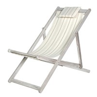 Vintage Style Grey Deck Chair | Grey Sun Lounger | Antique Deck Chair