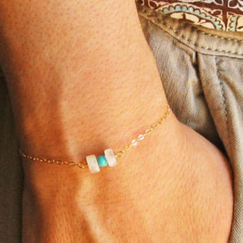 "Moonstone Bracelet, 14k Gold Fill or Sterling Silver, Delicate Jewelry, Rainbow Moonstone Bracelet, Bridesmaid Gift, ""Aigina"" Bracelet"