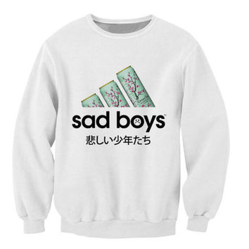 Sad Boys Sweatshirt favorite green tea Crazy Sweats Women Men Japanese characters Jumper Fashion Clothing casual Tops Outfits